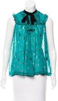 Anna Sui Velvet-Trimmed Silk Top