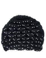 Quiz Black Knit Diamond Beanie Hat