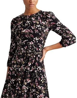 Lauren Ralph Lauren Felia with Sleeves Dress (Black/Pink/Multi) Women's Dress
