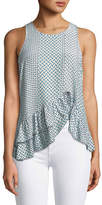 Parker Ginny Sleeveless Ruffled High-Low Printed Silk Top
