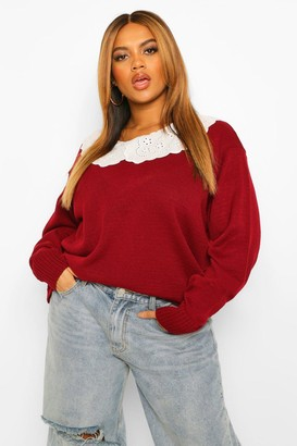 boohoo Plus Lace Collar Jumper