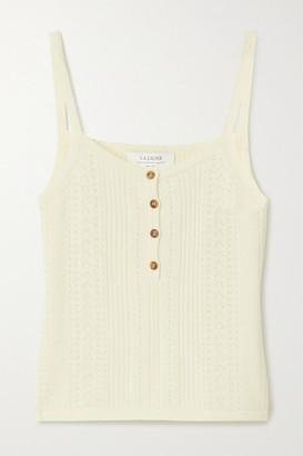 La Ligne Camille Pointelle-knit Cashmere Tank - Cream
