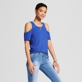 Mossimo Women's Rib Cold Shoulder Tank Blue