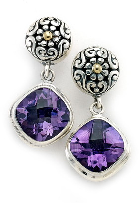 Samuel B. Sterling Silver & 18K Gold Amethyst Drop Earrings