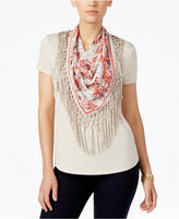 Style&Co. Style & Co. Petite T-Shirt with Fringe Scarf, Only at Macy's