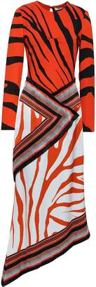 Roberto Cavalli Asymmetric Printed Silk-crepe Midi Dress