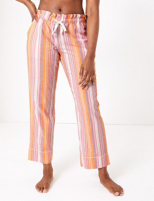Marks and Spencer Cotton Striped Long Pyjama Bottoms