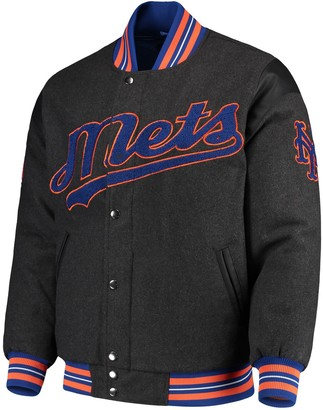 G Iii Men's G-III Sports by Carl Banks Gray New York Mets Game Ball Full-Snap Varsity Jacket
