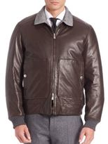 Brunello Cucinelli Leather, Cashmere & Wool Blend Reversible Jacket