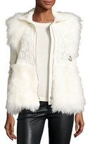 Moncler Fur-Trim Crocheted Lace Vest, White