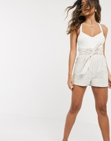 Asos DESIGN linen shorts with paperbag waist and belt in stripe