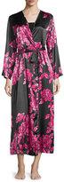 Oscar de la Renta Floral-Print Charmeuse Wrap Robe, Black/Pink