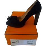 Hermes Black Suede Heels