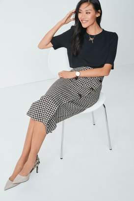 Next Womens Monochrome Midi Wrap Pencil Skirt - Black