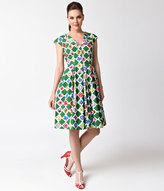 Emily And Fin 1940s Style Green & Square Garden Annie Cotton Swing Dress