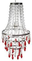 Loxton Lighting Crystal Look Pendant, Acryl, Clear/Red