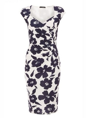 Dorothy Perkins Womens Quiz Cream Floral Print Bodycon Dress, Cream