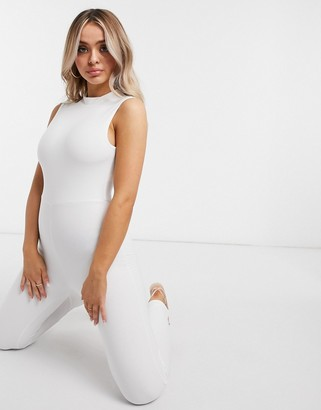 Club L London slinky sleeveless unitard in white