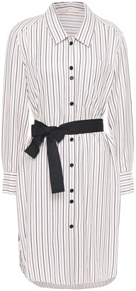 Maje Rayone Grosgrain-trimmed Striped Twill Shirt Dress