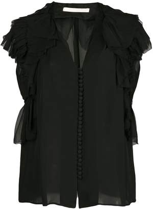Jason Wu Collection ruffle sleeve button blouse