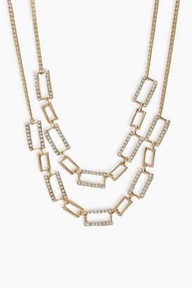 boohoo Diamante Link Chain 2 Pack Choker
