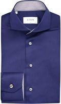 Eton Contrast-trim slim-fit cotton-twill shirt