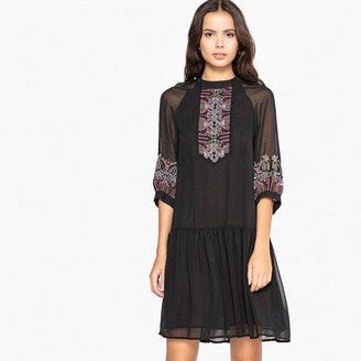 La Redoute Collections Flared Boho Embroidered Dress