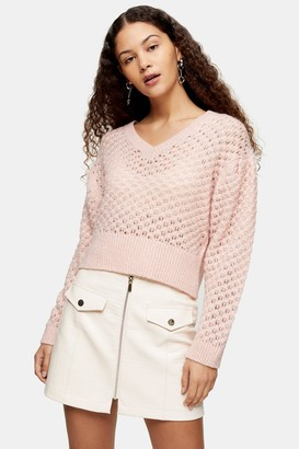 Topshop Pink Honeycomb Knitted Sweater