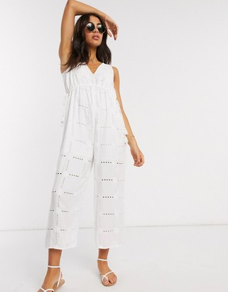 ASOS DESIGN rope drawstring waist detail jumpsuit in daisy broderie