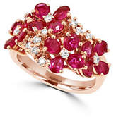 Effy 0.31 TCW Diamond and Ruby 14K Rose Gold Flower Ring