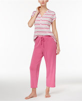Charter Club V-Neck Top and Cropped Pants Mix-It Knit Pajama Set, Only at Macy's