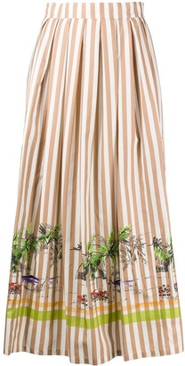 Cavallini Erika striped patch pocket A-line skirt