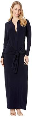 KAMALIKULTURE by Norma Kamali Tie Front NK Shirtdress To Midcalf (Midnight) Women's Clothing