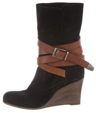 Barbara Bui Suede Wedge Ankle Boots
