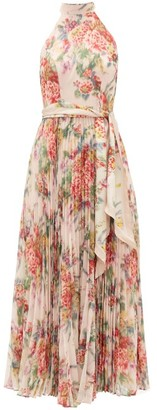 Zimmermann Wavelength Halterneck Floral-print Crepe Dress - Pink Print