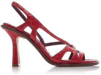 Sies Marjan Maya Multi Strap Patent Crocodile Heel