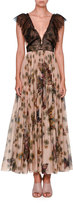 Valentino Butterfly-Print Midi Dress w/Lace Bodice, Beige