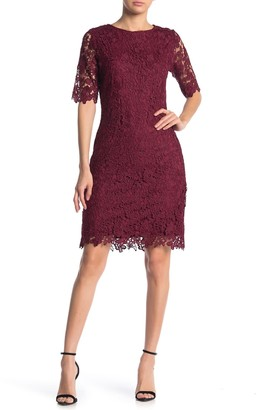 Nina Leonard Jewel Neck Lace Dress