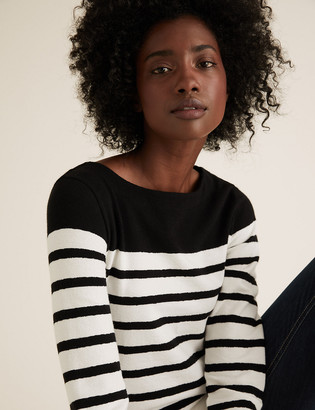 Marks and Spencer Pure Cotton Striped Straight Fit Tunic
