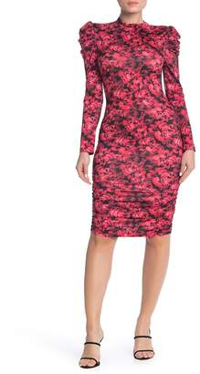 Free Press Mock Neck Puff Sleeve Ruched Bodycon Dress