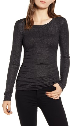 Chelsea28 Metallic Ruched Side Seam Long Sleeve Top