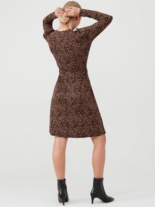 Warehouse Wild Animal Dress - Camel