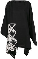 Yohji Yamamoto contrast patch cape - women - Linen/Flax - XS