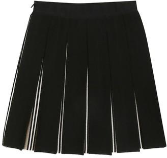 BURBERRY KIDS Icon Stripe stretch-wool skirt