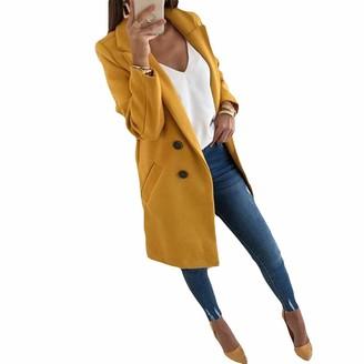 Finerun Women Trench Coat Lapel Double-Breasted Long Loose Woolen Coat Windbreaker Black