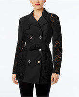 INC International Concepts Lace-Inset Trench Coat, Created for Macy's