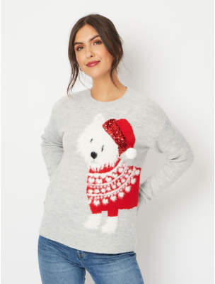 George Grey Textured Dog Christmas Jumper