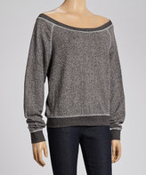 Black French Terry Off-Shoulder Sweatshirt - Women & Plus