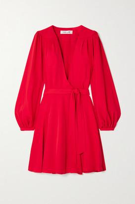 Diane von Furstenberg Londyn Crepe Wrap Mini Dress - Red