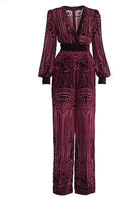 ZUHAIR MURAD Women's Kodo Blouson-Sleeve Burnout Velvet Jumpsuit